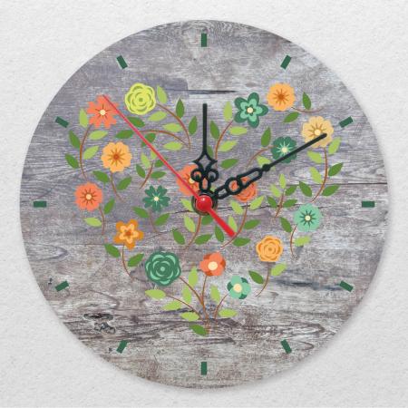 Ceas de perete - Inimă din flori vintage [0]