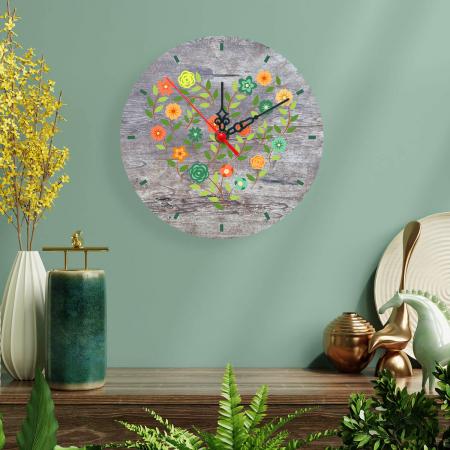 Ceas de perete - Inimă din flori vintage [1]