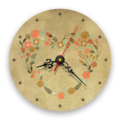 Ceas de perete - Inima din flori retro0
