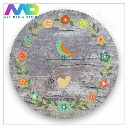 Ceas de perete - Păsări și flori vintage1