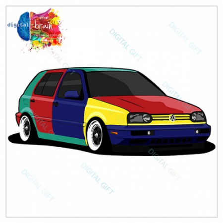 Hanorac unisex - VW Golf 3 Harlequin1