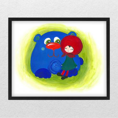 Poster decorativ pentru copii - Fetita cu ursul [0]