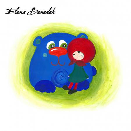 Poster decorativ pentru copii - Fetita cu ursul [2]