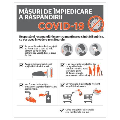 """Poster informativ Covid-19 - """"Măsuri de protecție pentru angajați""""0"""