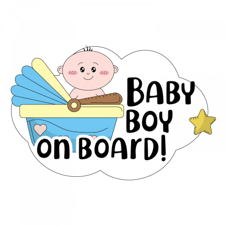 Sticker auto - Baby on board băiat [1]