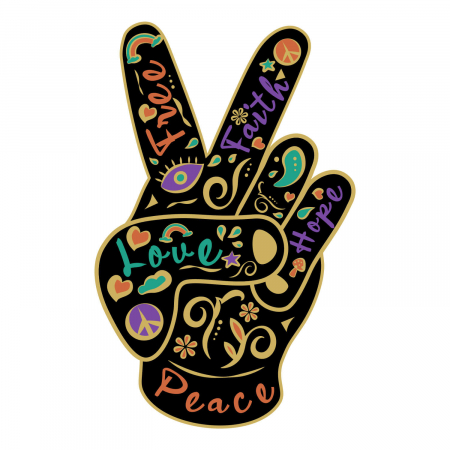 Sticker clasic - Peace&love boho style [1]