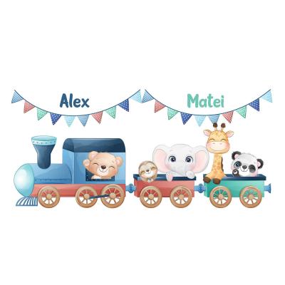 Sticker pentru gemeni, personalizat - Trenulețul de la zoo2