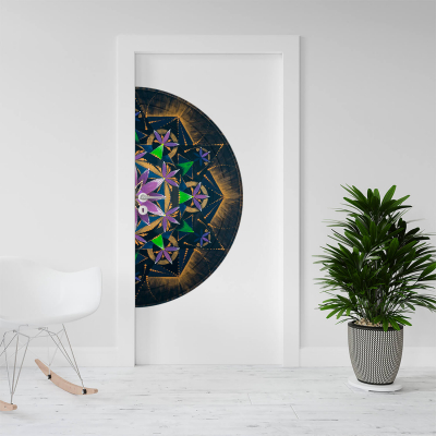 """Sticker demi pentru ușă - Mandala """"Conștiința extinsă""""0"""