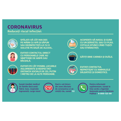 """Sticker informativ Covid-19 - """"Cum reducem riscul infecției?"""" [0]"""