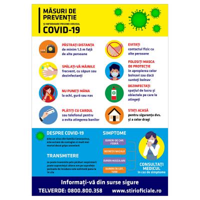 "Sticker informativ Covid-19 - ""Măsuri de prevenție""0"