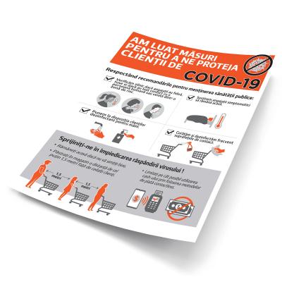 """Sticker informativ Covid-19 - """"Măsuri de protecție pentru clienți"""" [2]"""