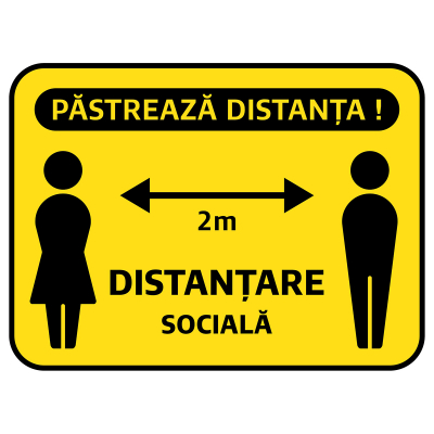 """Sticker informativ Covid-19 - """"Păstrează distanța socială""""0"""