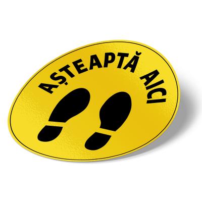 """Sticker informativ Covid-19 pentru podea - """"Așteaptă aici"""" - 30 cm2"""