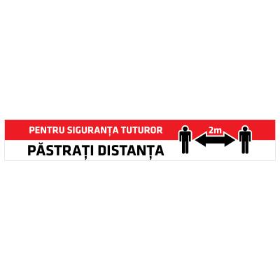 """Sticker informativ Covid-19 pentru podea - """"Păstrați distanța""""0"""