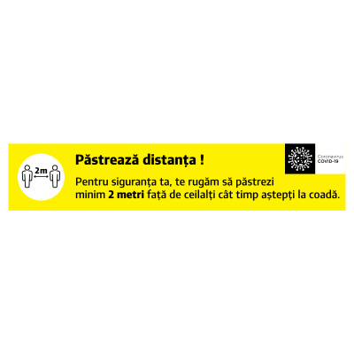 """Sticker informativ Covid-19 pentru podea - """"Păstrează distanța la casă"""" - 60x12 cm"""