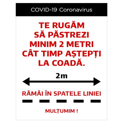 """Sticker informativ Covid-19 pentru podea - """"Rămai în spatele liniei""""0"""