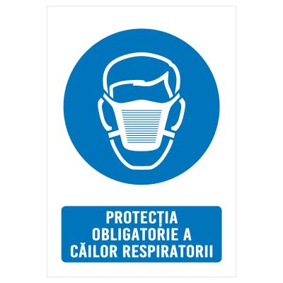 """Sticker informativ Covid-19 - """"Protecție obligatorie a căilor respiratorii""""0"""