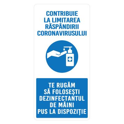 """Sticker informativ Covid-19 - """"Recomandare de dezinfectare a mâinilor""""0"""