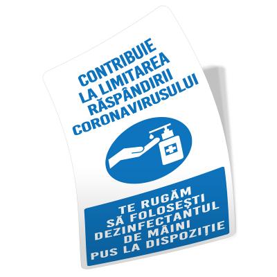 """Sticker informativ Covid-19 - """"Recomandare de dezinfectare a mâinilor""""2"""