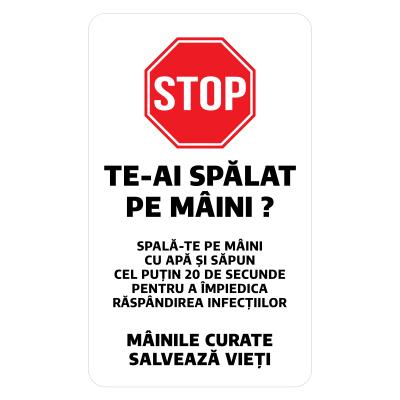 """Sticker informativ Covid-19 - """"Recomandare pentru spălarea mâinilor""""0"""