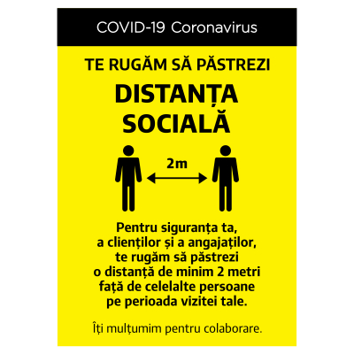 """Sticker informativ Covid-19  - """"Te rugăm să respecți distanța socială""""0"""