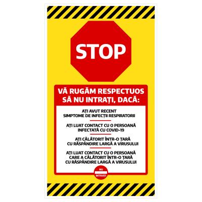 """Sticker informativ Covid-19 - """"Vă rugăm să nu intrați""""0"""
