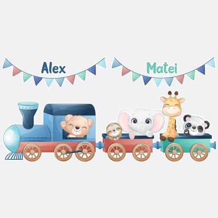 Sticker pentru gemeni, personalizat - Trenulețul de la zoo1