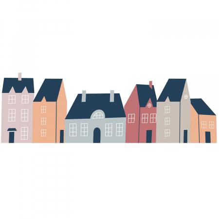 Sticker pentru perete - Căsuțe pastelate1