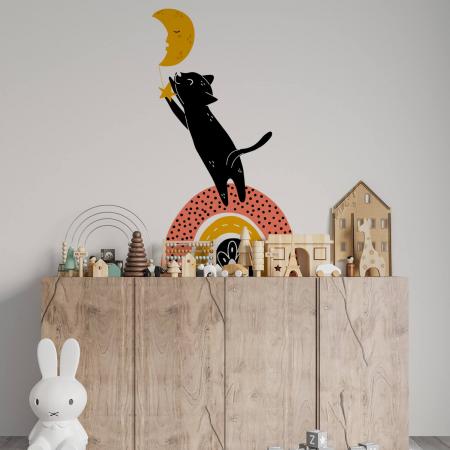 Sticker pentru perete - Pisica după lună0
