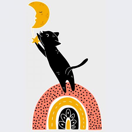 Sticker pentru perete - Pisica după lună1