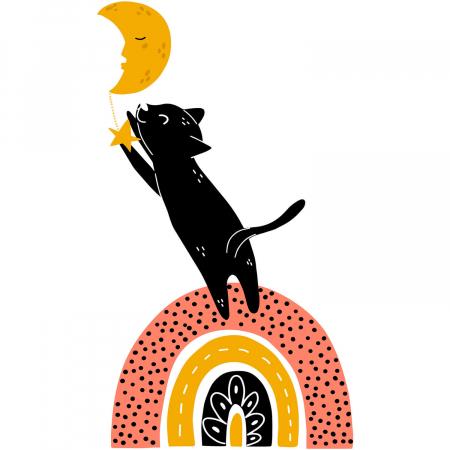 Sticker pentru perete - Pisica după lună2