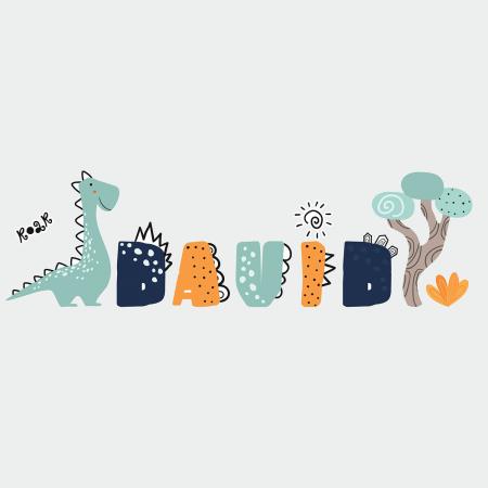 Sticker pentru perete personalizat - Lumea lui Dino [1]
