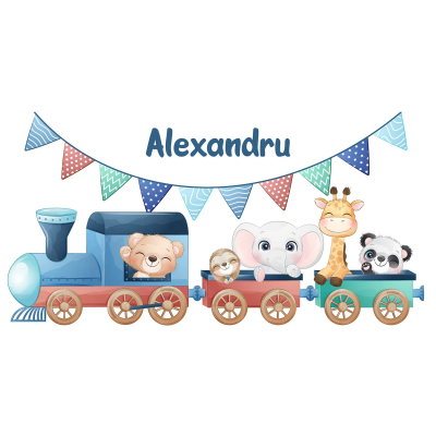 Sticker pentru perete personalizat - Trenulețul de la zoo2