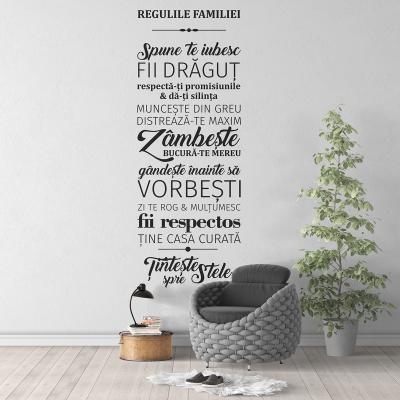 Sticker pentru perete - Regulile familiei