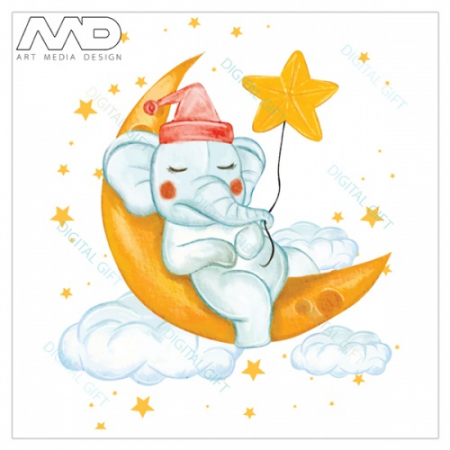 Sticker pentru ușă - Elefantul somnoros1