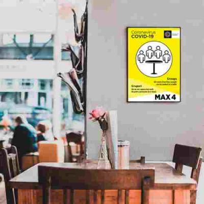 Sticker prevenție Covid-19 bilingv - Maxim 4 persoane la masă1