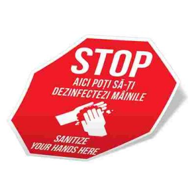 Sticker prevenție Covid-19 bilingv - Punct de dezinfectare2