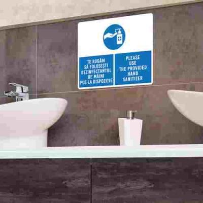 Sticker prevenție Covid-19 bilingv - Recomandare de dezinfectare a mâinilor1