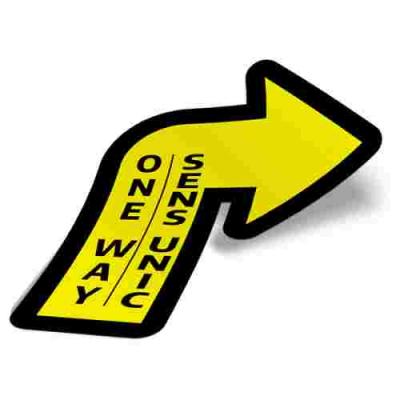 Sticker prevenție Covid-19 pentru pardoseală bilingv - Săgeată spre dreapta2