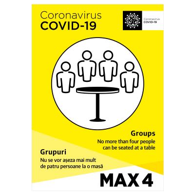 Sticker prevenție Covid-19 bilingv - Maxim 4 persoane la masă0