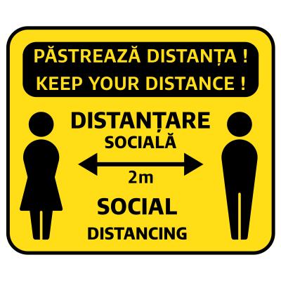 Sticker prevenție Covid-19 bilingv - Păstrează distanța0