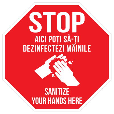 Sticker prevenție Covid-19 bilingv - Punct de dezinfectare0
