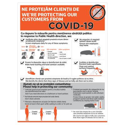 Sticker prevenție Covid-19 bilingv - Recomandări pentru clienții Horeca0