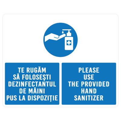 Sticker prevenție Covid-19 bilingv - Recomandare de dezinfectare a mâinilor0