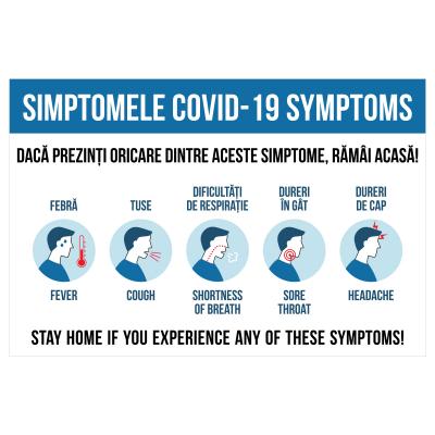 Sticker prevenție Covid-19 bilingv - Simptomele coronavirusului0