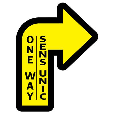 Sticker prevenție Covid-19 pentru pardoseală bilingv - Săgeată spre dreapta [0]