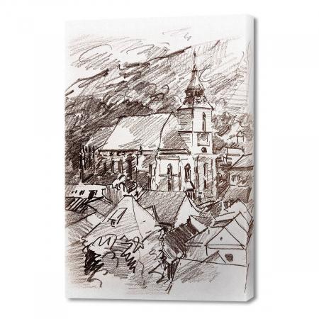 Tablou simplu - Biserica Neagră în creion0