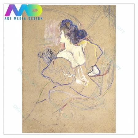 Tablou simplu - Henri de Toulouse-Lautrec - Madame Thadée Natanson at the Theater1