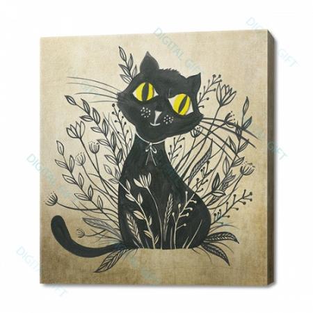 Tablou simplu - Pisica neagră 010