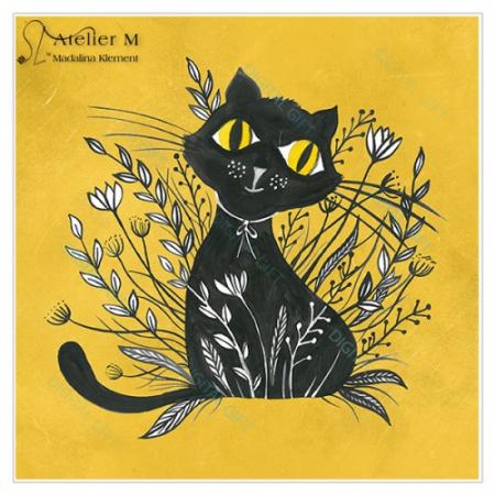 Tablou simplu - Pisica neagră 022